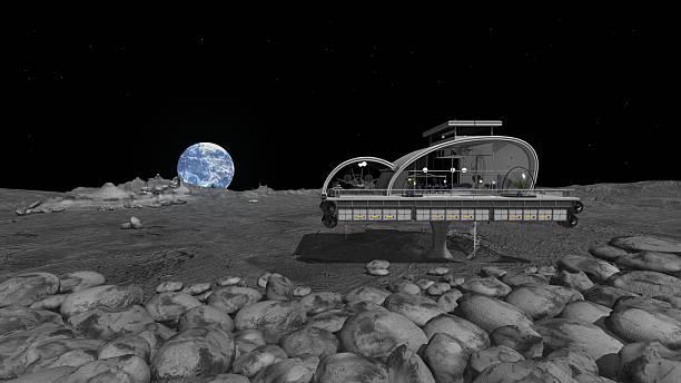 Modernes Haus auf dem Mond mit Erde – Foto