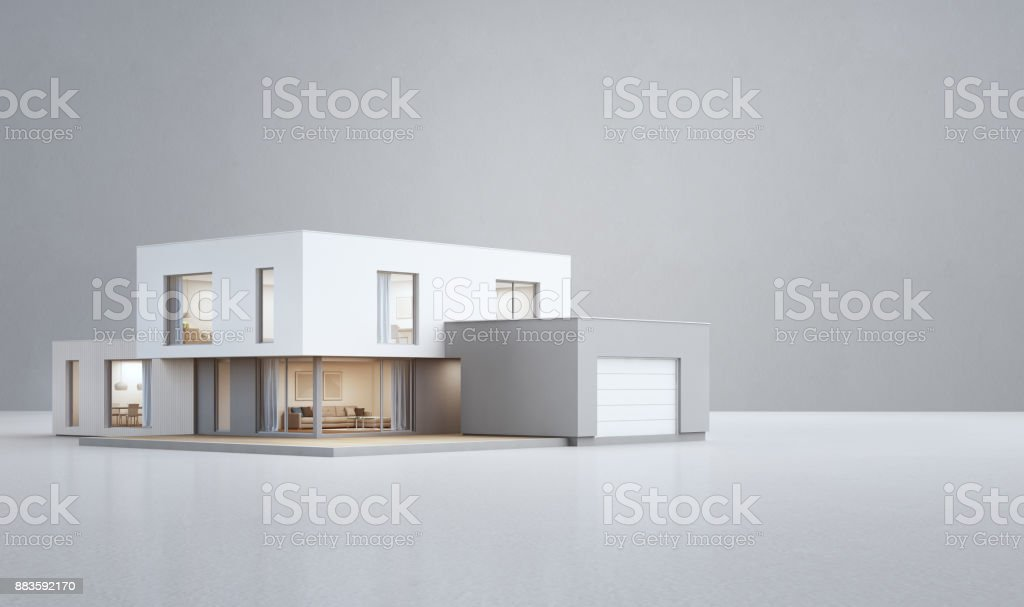 Modern house on white floor with empty concrete wall background in real estate sale or property investment concept, Buying new home for big family stock photo