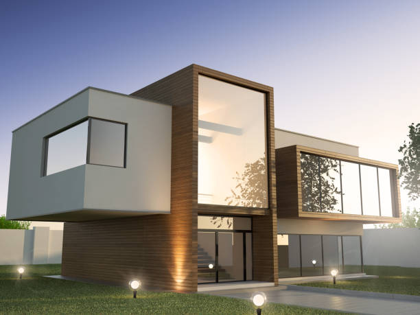 Modern House Visualisation, 3d illustration modern house stock pictures, royalty-free photos & images