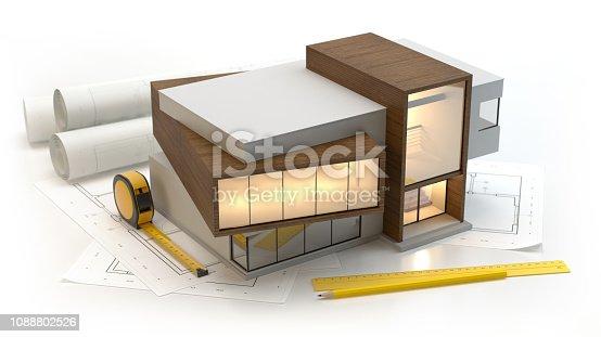 istock Modern House plans 1088802526
