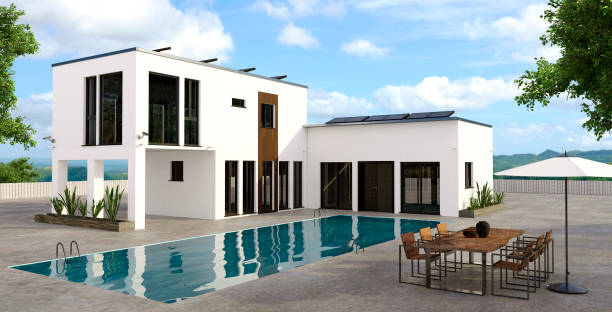 Modern house render with large swimming pool. stock photo