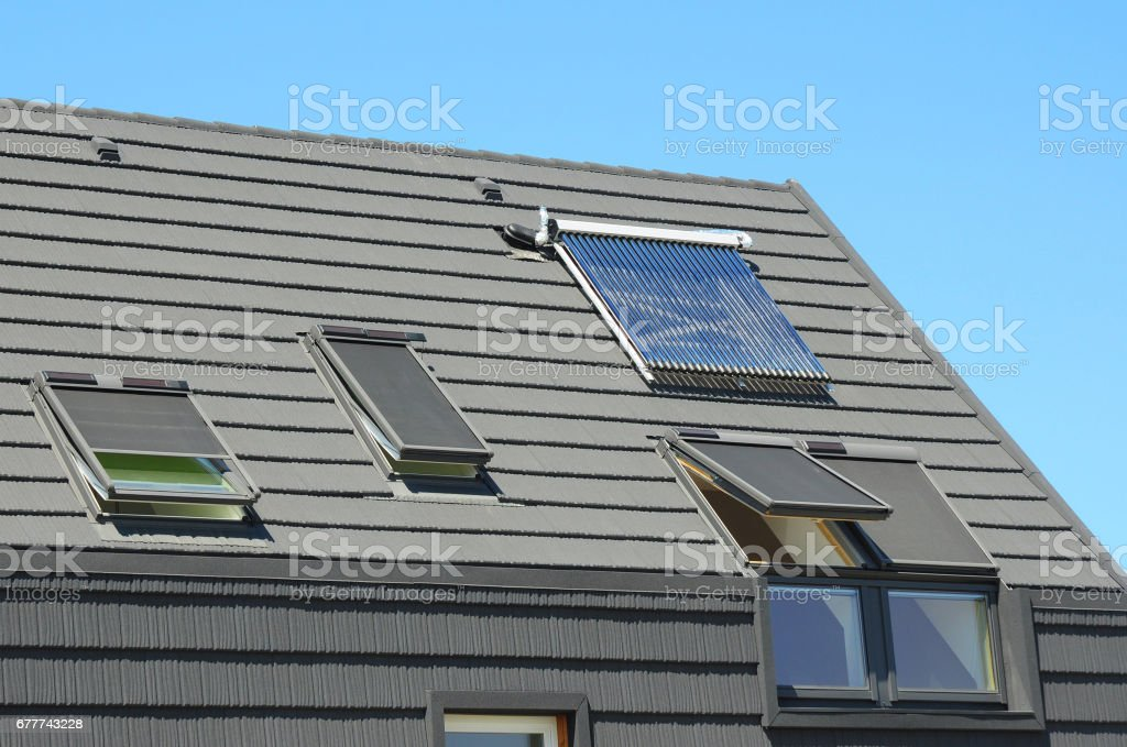 Modern House Roof With Solar Water Heater Solar Panels And Skylights