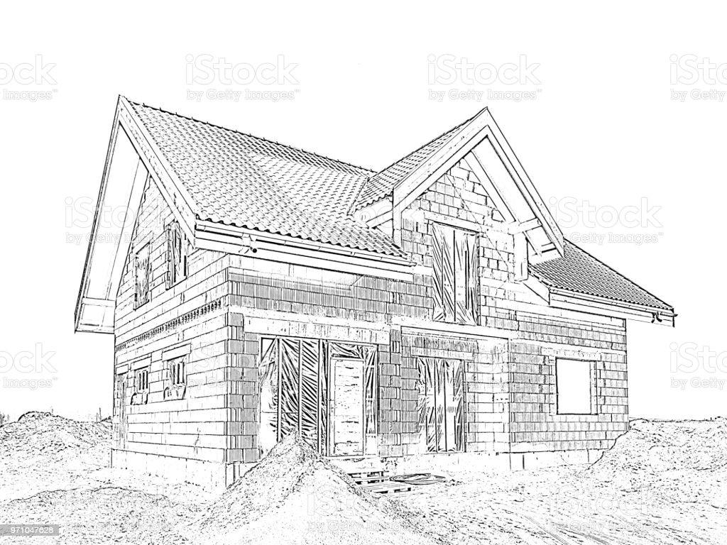 Photo libre de droit de Maison Moderne En Construction ...