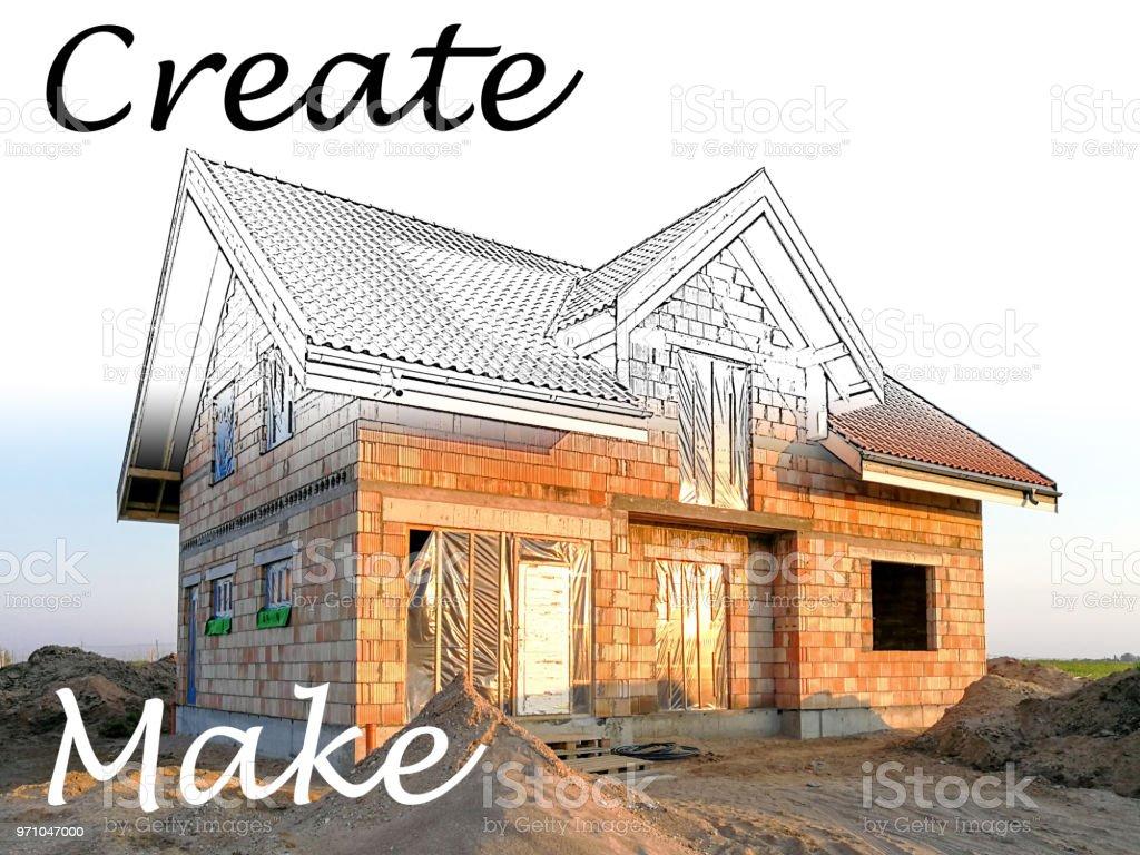 Maison Moderne En Construction. Concept De Construction De Votre Maison De  Rêve Photo Libre De