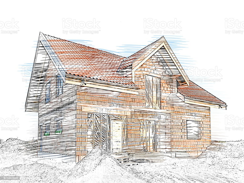 Modern House Under Construction Concept Of Building Your Dream House