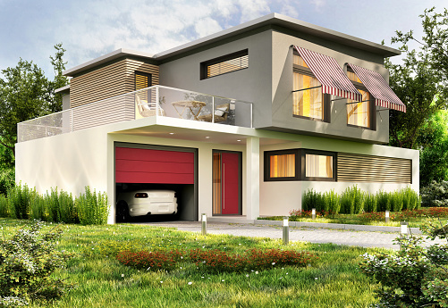 istock Modern house with garage and car 1151833132