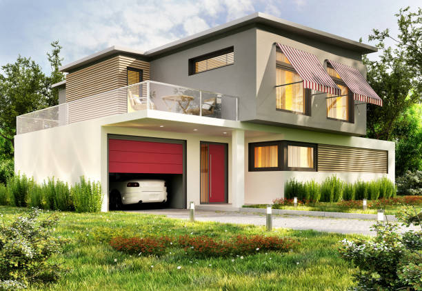 Modern house with garage and car Modern house design with garage and car detached house stock pictures, royalty-free photos & images