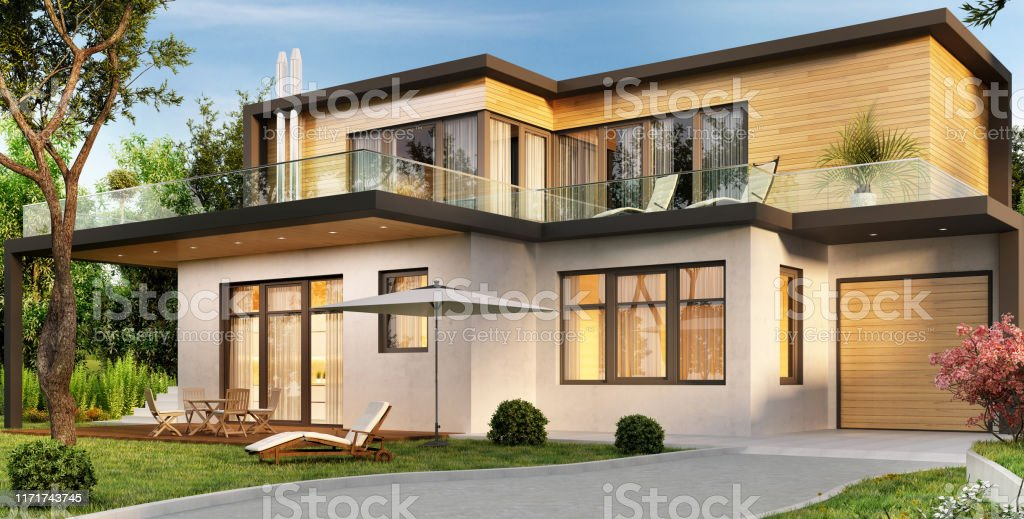 Modern House With Garage And Terrace Stock Photo Download Image Now Istock