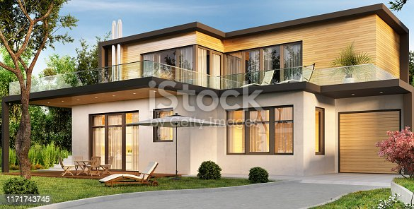 Modern big house with garage and terrace