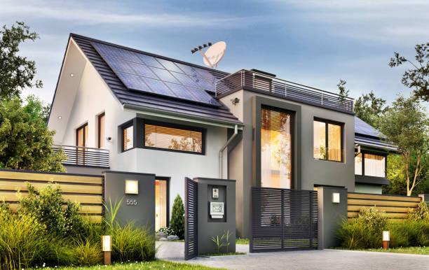 modernt hus med trädgård och solpaneler - grind bildbanksfoton och bilder