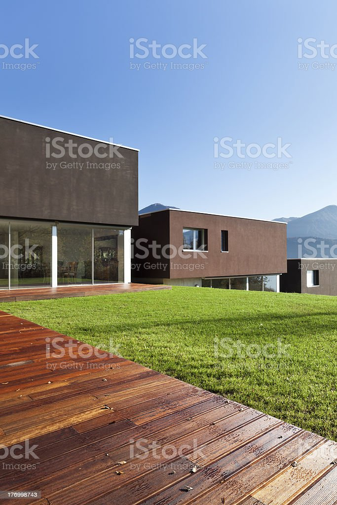 modern house with garden royalty-free stock photo