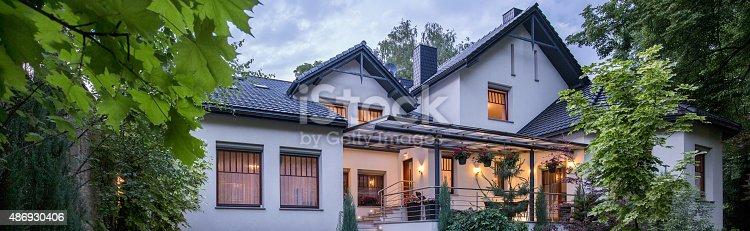 istock Modern house with garden 486930406