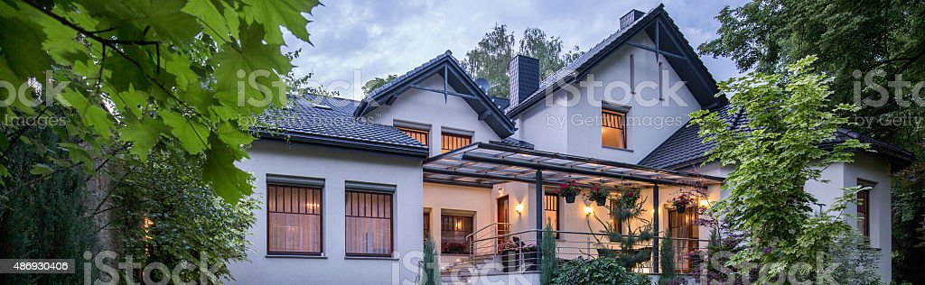 Modern house with garden stock photo