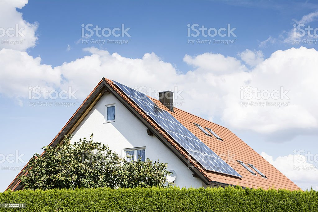 Modern House with Photovoltaic System stock photo