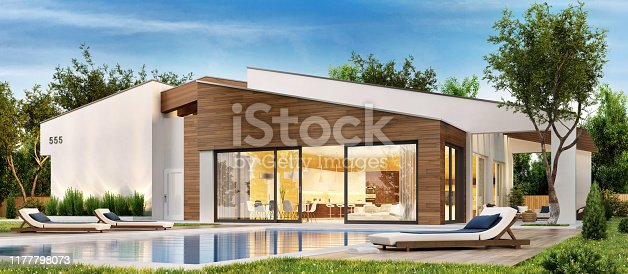 Modern house with terrace and swimming pool