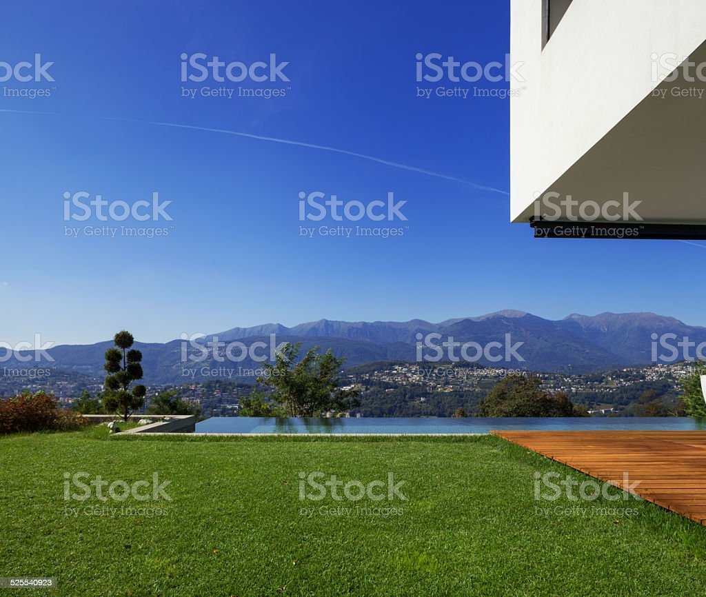 Modern house, with pool stock photo