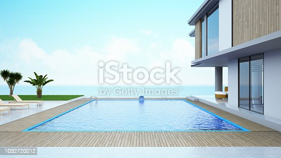 istock Modern House with Private Swimming Pool 1032720212
