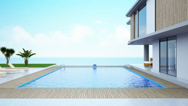 Modern House with Private Swimming Pool Modern House with Private Swimming Pool and Ocean view holiday villa stock pictures, royalty-free photos & images