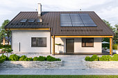 istock Modern House With Solar Panels And Wall Battery For Energy Storage 1308318231