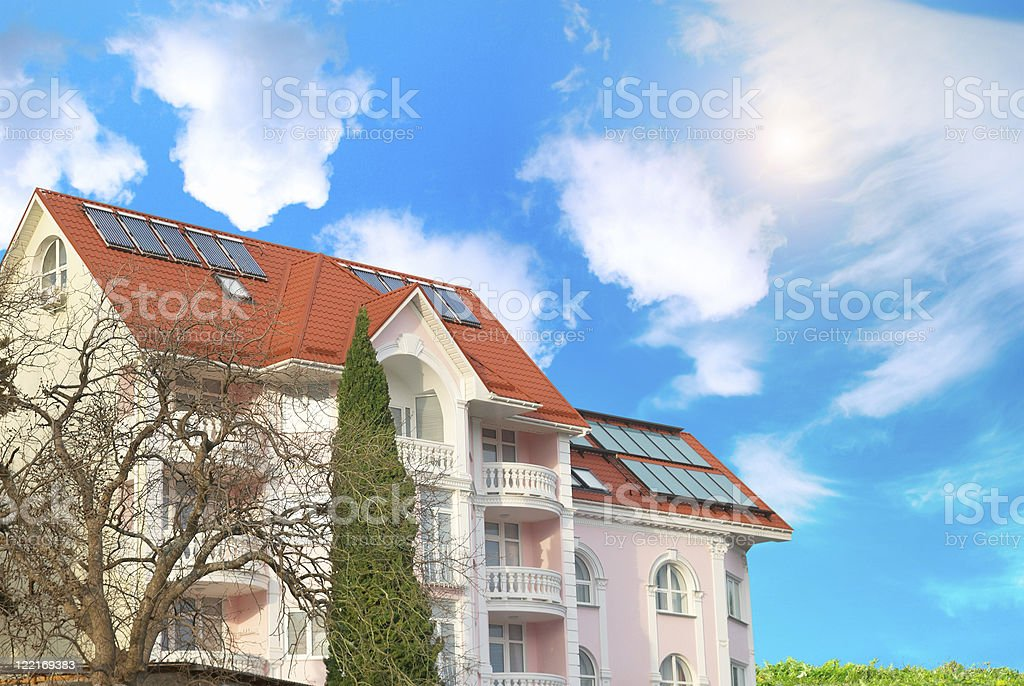 Modern house with solar panels royalty-free stock photo