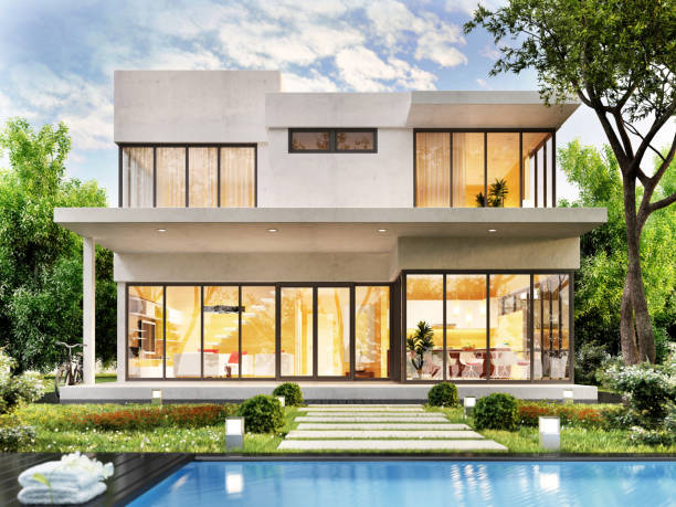 modern house with swimming pool - modern stock pictures, royalty-free photos & images