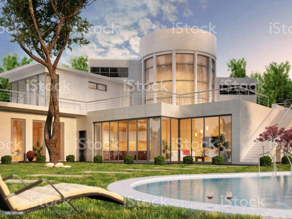 Modernes Haus Mit Pool Stockfoto und mehr Bilder von Architektur ...