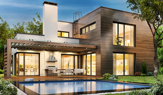 istock Modern house with swimming pool 1201803920