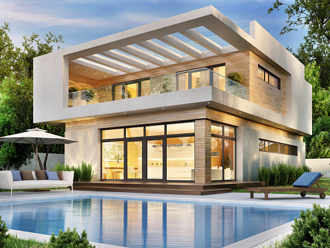 Beautiful modern house with a terrace and a swimming pool