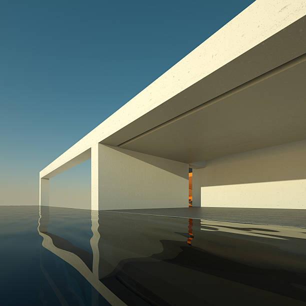 modernes haus mit swimmingpool - moderner dekor für ferienhaus stock-fotos und bilder
