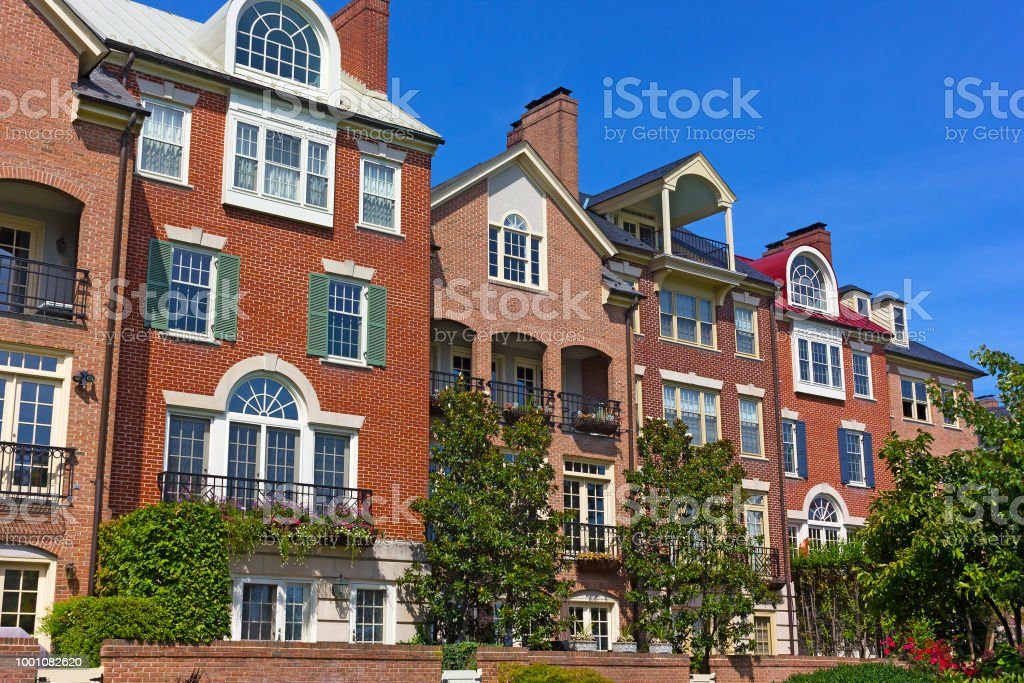 Modern houses facing Old Town Alexandria waterfront in Virginia, USA. stock photo