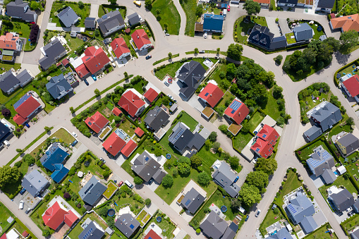Aerial view of modern housing development.
