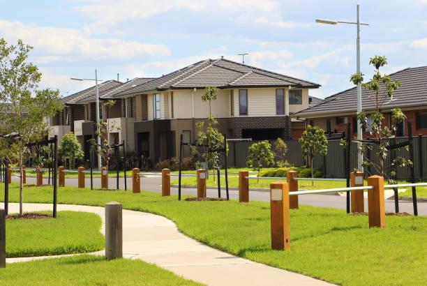 Modern houses in a suburban neighborhood stock photo