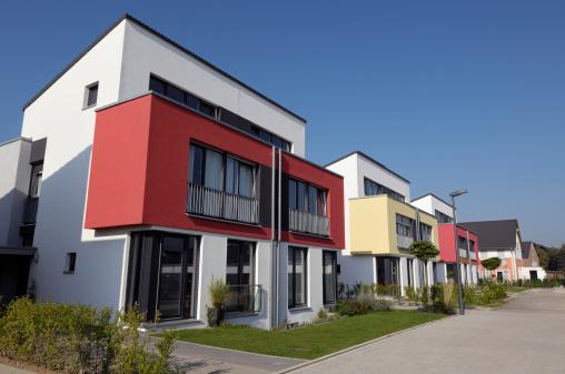 Row of modern twin houses.