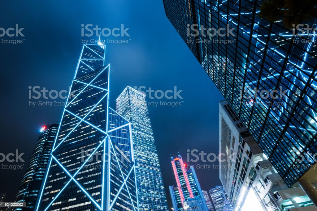 modern illuminated financial skyscrapers in Hong Kong stock photo