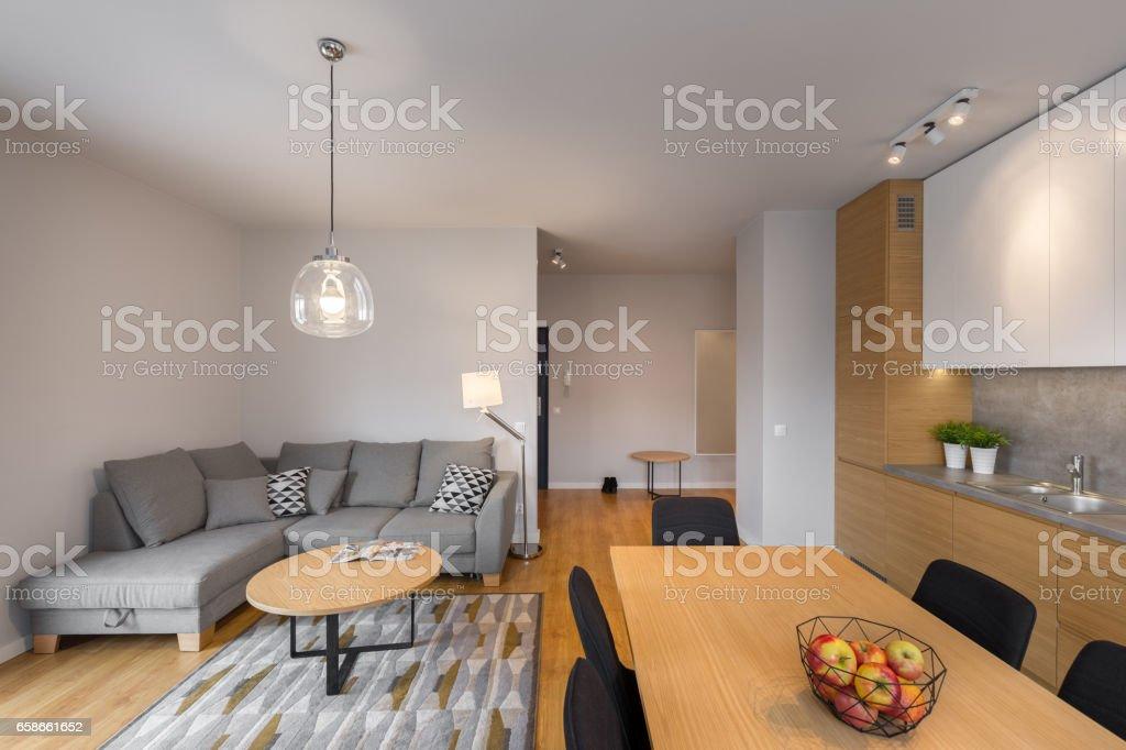 Modern illuminated living room stock photo