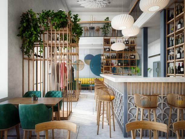 Modern Café Interior stock photo