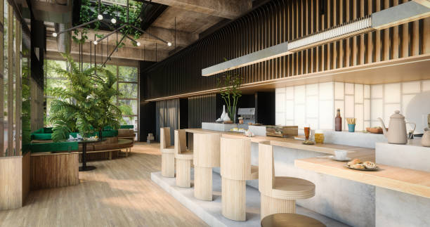 Modern Indoor Café stock photo