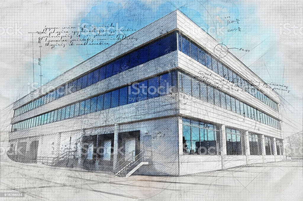 Modern Industrial Building with Grunge Effect stock photo