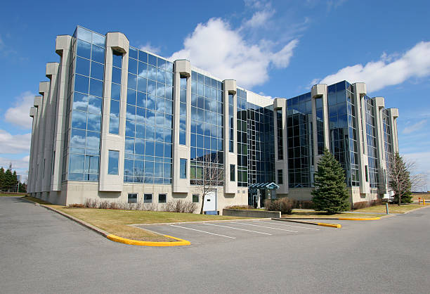 Modern Industrial Building with reflective windows stock photo