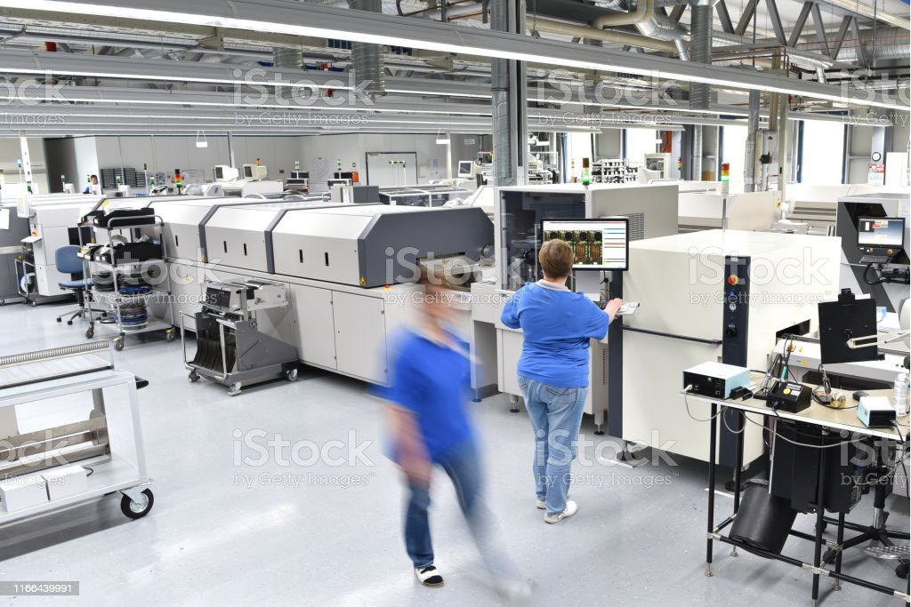 modern industrial factory for production of electronic components -...