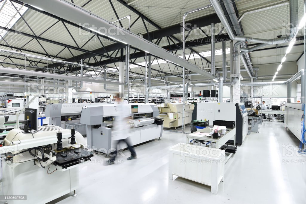 modern industrial factory for the production of electronic components...