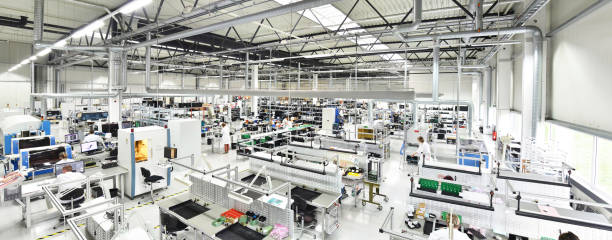 modern industrial factory for the production of electronic components - machinery, interior and equipment of the production hall stock photo