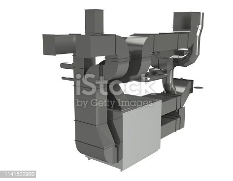 Modern industrial interior of the ventilation plant room 3d modelling Image