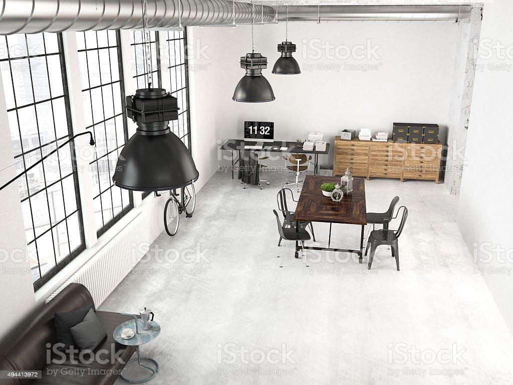 Modern Industrial Loft 3d Rendering Stock Photo Download