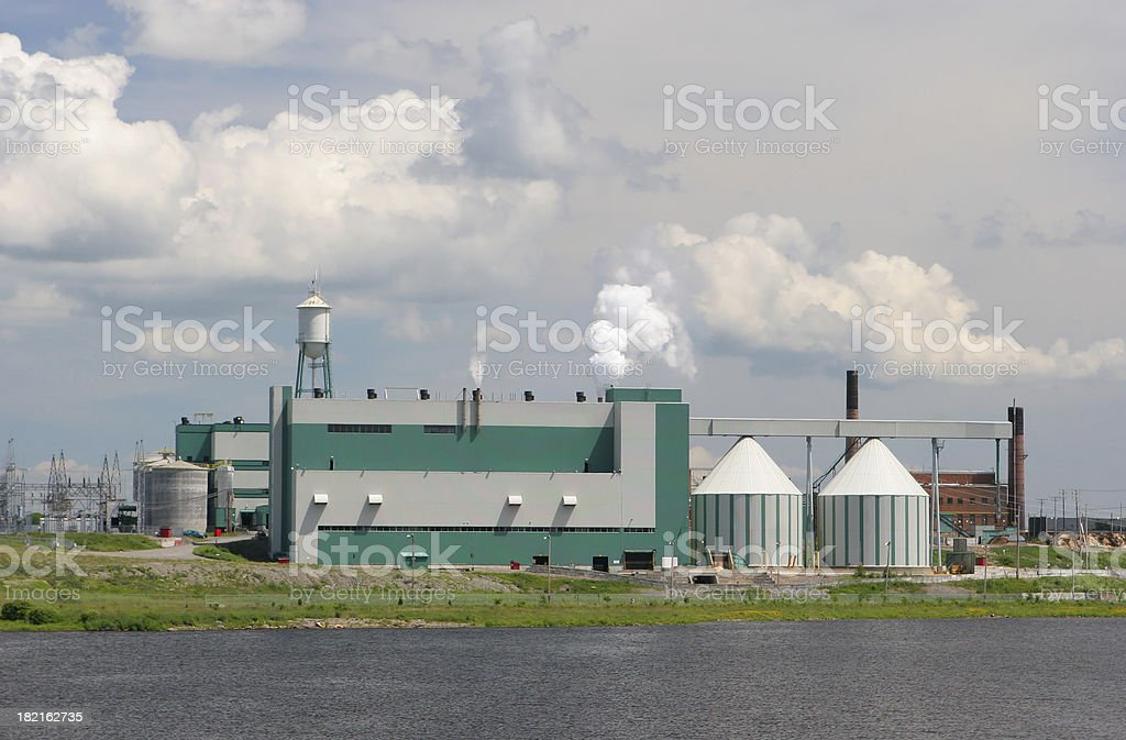 Modern Industrial Paper Plant Building in Saguenay royalty-free stock photo