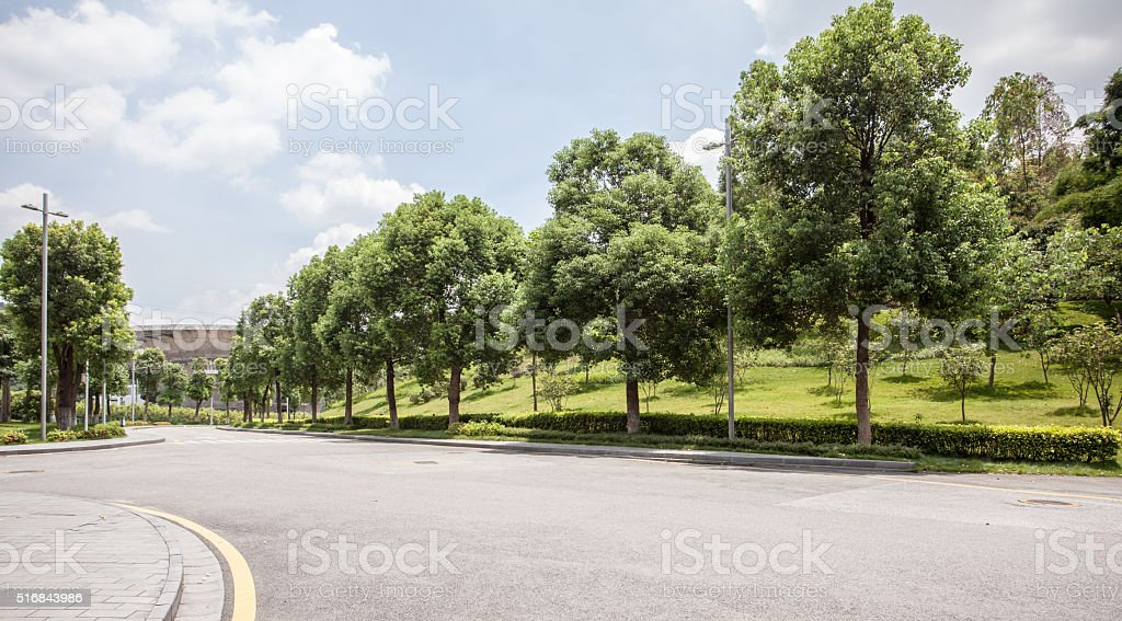 Modern Industrial Park Road stock photo