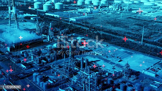 istock Modern industrial plant and communication network concept. 1152958092