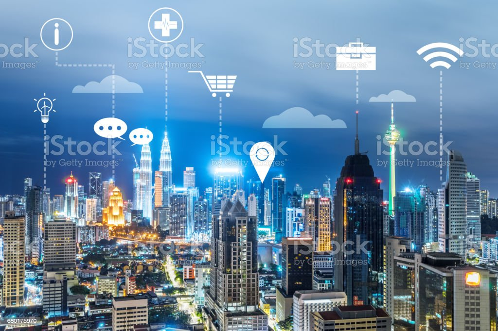 modern intelligence city at night stock photo