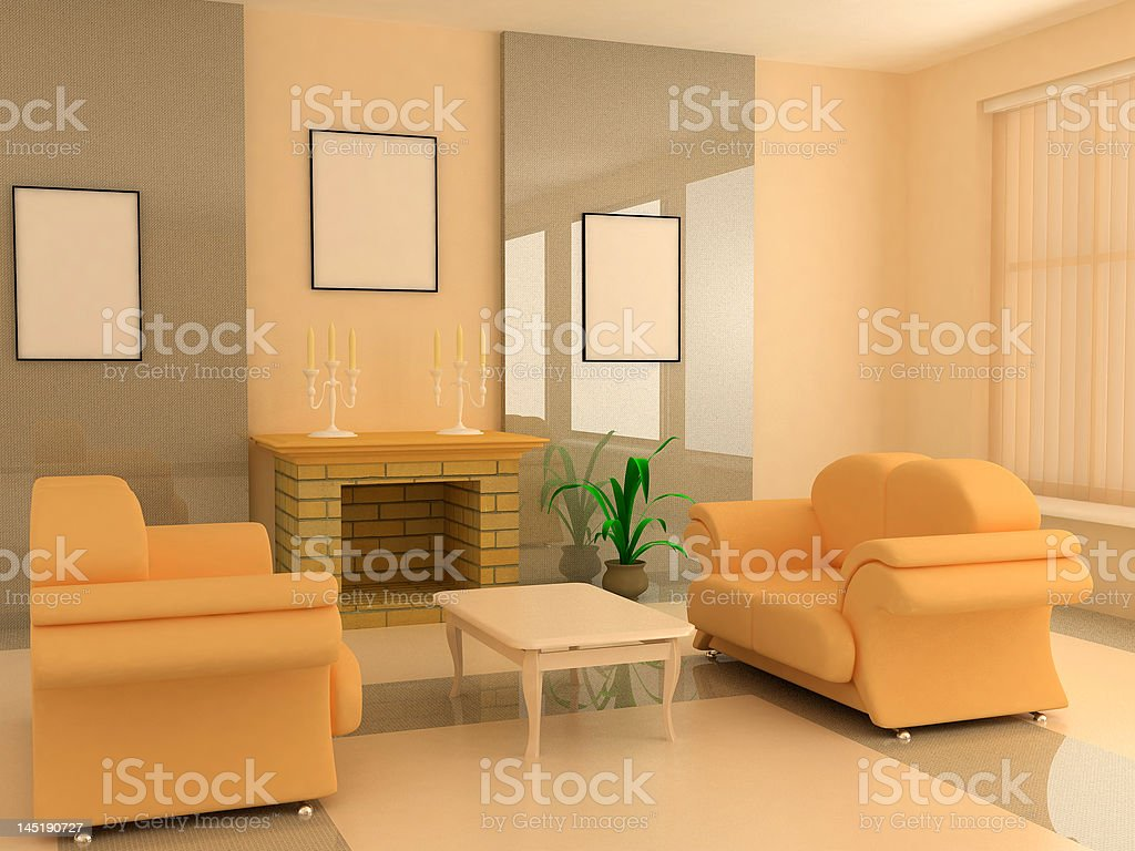 modern interior 3d royalty-free stock photo
