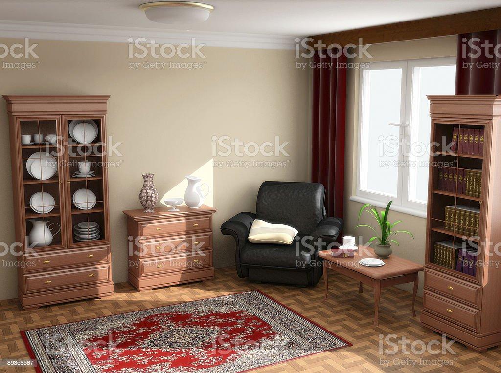 modern interior 3d royalty free stockfoto